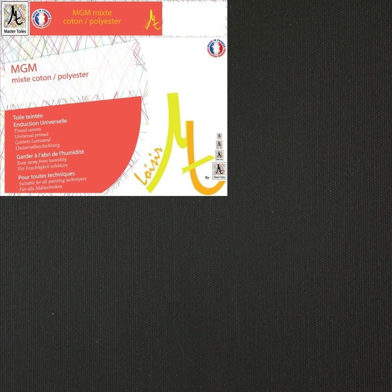 Rouleau de Toile Vierge Prête à Peindre Noire Mixte Polyester Coton Grain Moyen - Largeur 2.10m