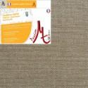 Toile Vierge Prête à Peindre Sur-Mesure en Rouleau 100% Lin Grain Moyen Serré Encollé Couleur Lin Naturel Brut