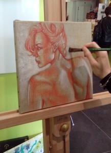 Oeuvre de Fanny Bobrie avec de la peinture encaustique liquide à froid